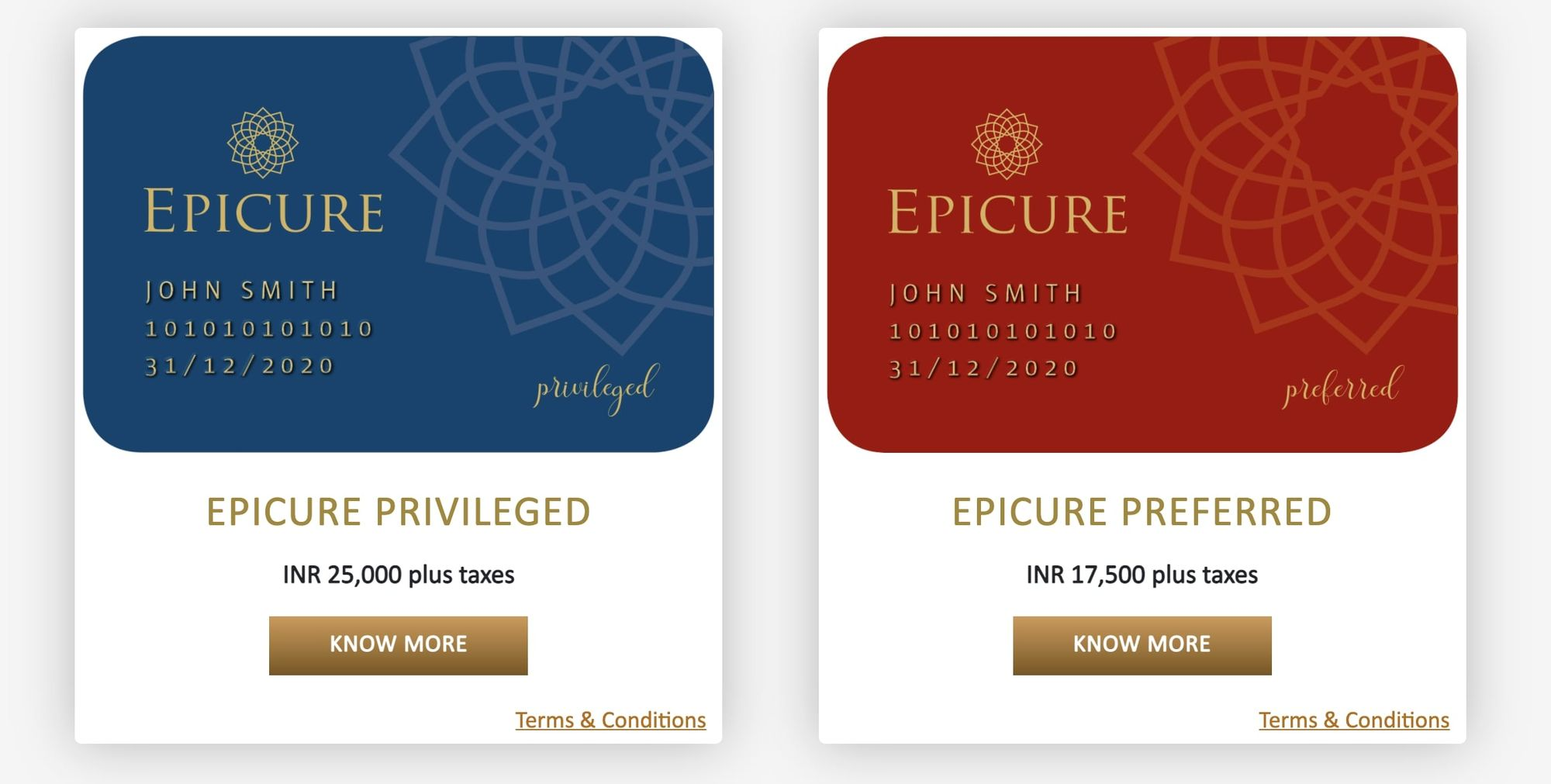 Taj Epicure Privileged and Preferred tiers.
