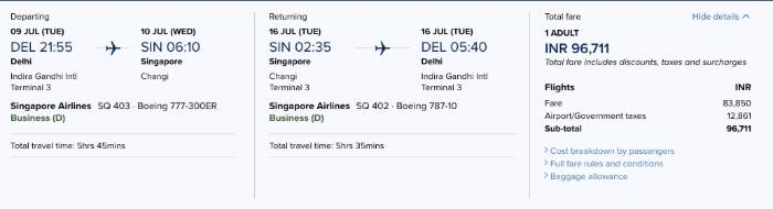 Singapore Airlines official website price